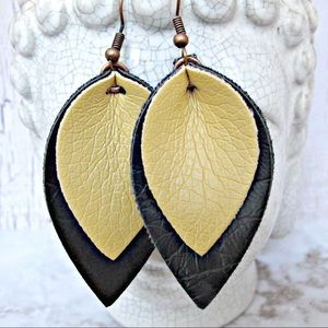 Yellow black and copper leather earrings